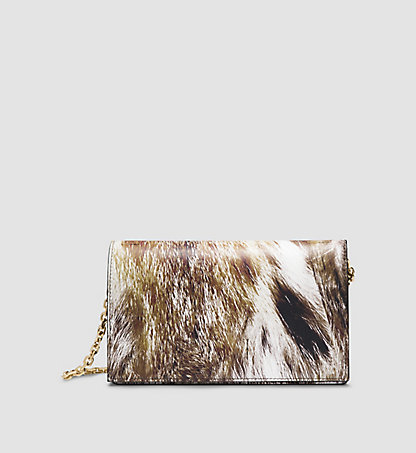 CALVIN KLEIN COLLECTION Clutch-Bag aus Kalbsleder mit Luchs-Print 97597162CO213