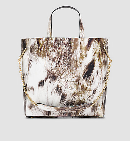 CALVIN KLEIN COLLECTION Ledet-Tote-Bag mit Luchs-Print 97597195CO213