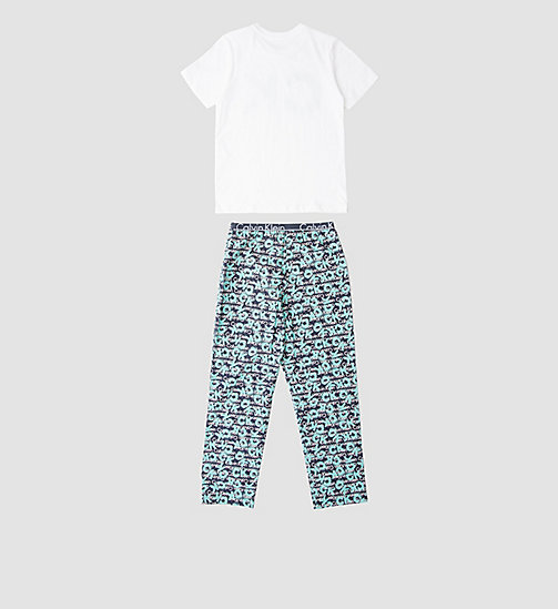 CALVINKLEIN Boys PJ Set - Calvin Klein ID - WHITE W/ CK SPRAY LOGO BLUE SHADOW - CALVIN KLEIN Up to 50% - detail image 1