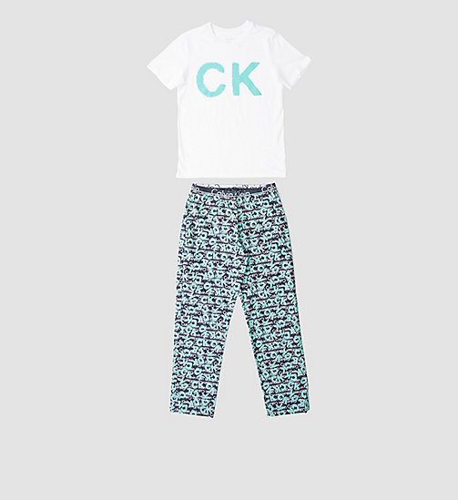 CALVINKLEIN Boys PJ Set - Calvin Klein ID - WHITE W/ CK SPRAY LOGO BLUE SHADOW - CALVIN KLEIN  - main image