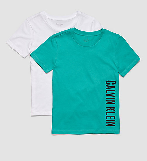 CALVINKLEIN 2 Pack Boys T-shirts - Intense Power - 1 VIVID GREEN/ 1 WHITE - CALVIN KLEIN UNDERWEAR - main image