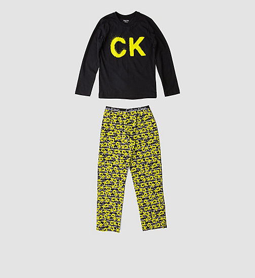 CALVINKLEIN Boys PJ Set - Calvin Klein ID - BLACK W/ CK SPRAY LG BLACK - CALVIN KLEIN Up to 50% - main image