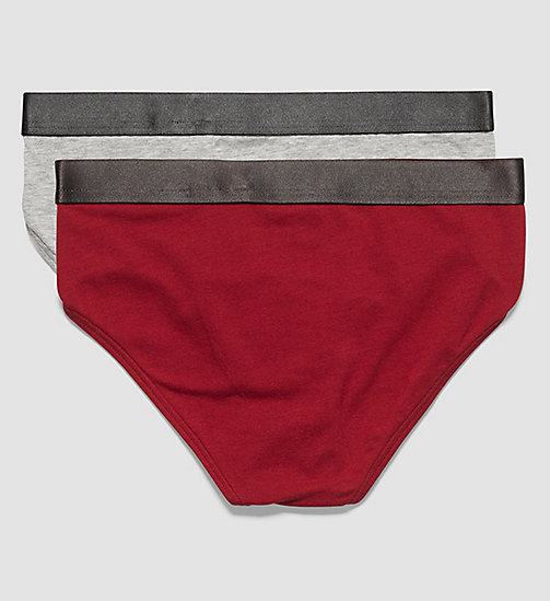 2 Pack Boys Briefs - Customized Stretch - 1 GREY HEATHER / 1 RHUBARB - CALVIN KLEIN UNDERWEAR - detail image 1
