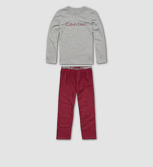 Boys PJ Set - Customized Stretch - GREY HEATHER/RHUBARB - CALVIN KLEIN UNDERWEAR - main image