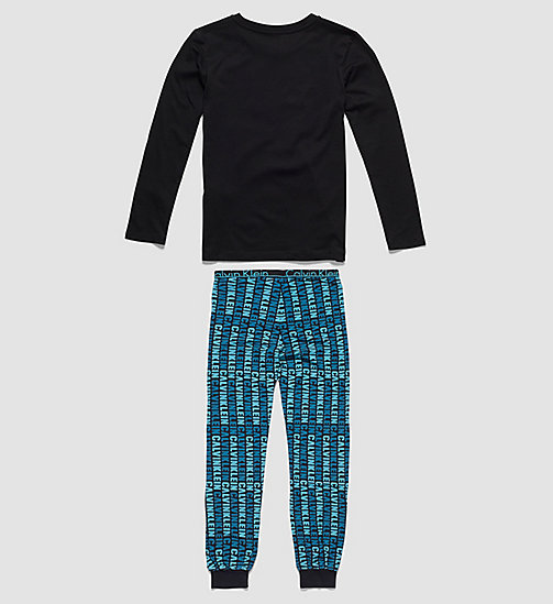 Boys PJ Set - Modern Cotton - BLACK W/ SOLAR DETROIT SCUBA BLUE - CALVIN KLEIN UNDERWEAR - detail image 1