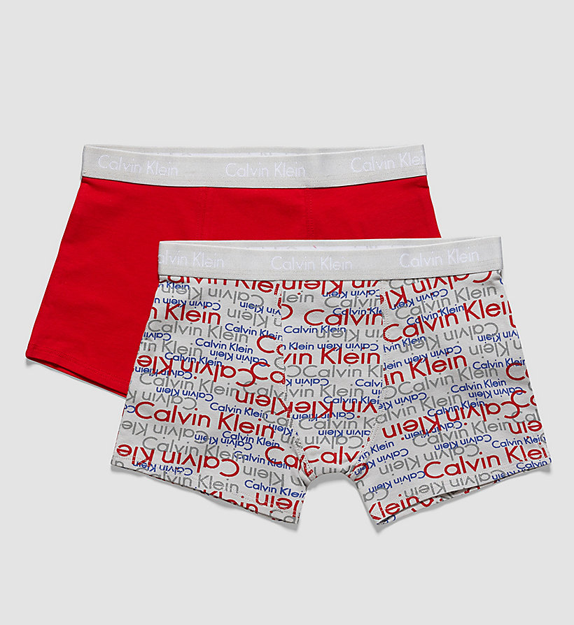 CALVINKLEIN 2 Pack Boys Trunks - Modern Cotton - 1 OVERLAPPING LOGO GRAY VIOLET / 1 RED R - CALVIN KLEIN UNDERWEAR - main image