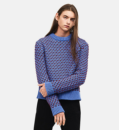 CALVINKLEIN Bi Color Textured Crew Neck Sweater - STEEL BLUE BURGUNDY - CALVIN KLEIN CLOTHES - main image