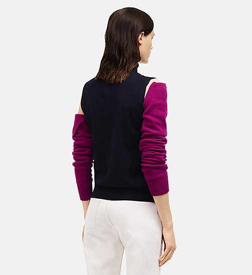 CALVINKLEIN Detachable Sleeve High Neck Top - NAVY ORCHID - CALVIN KLEIN CLOTHES - detail image 1