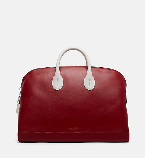 CALVINKLEIN Simple Luxe Leather Tote - RED - CALVIN KLEIN SHOES & ACCESSORIES - main image
