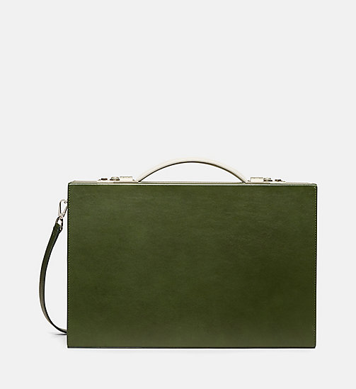 CALVINKLEIN Luxe Leather Briefcase - SAGE - CALVIN KLEIN SHOES & ACCESSORIES - main image