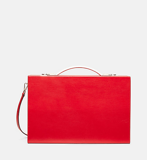 CALVINKLEIN Luxe Leather Briefcase - RED - CALVIN KLEIN SHOES & ACCESSORIES - main image