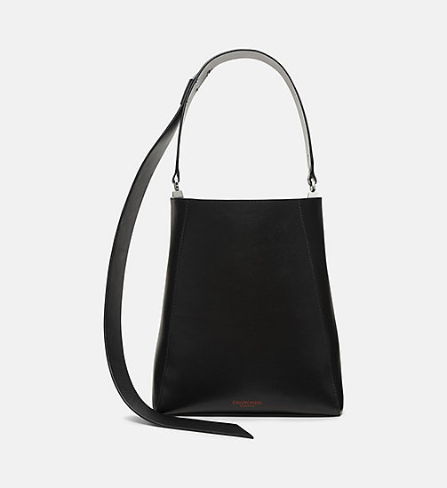 CALVINKLEIN Luxe Leather Bucket Bag - BLACK - CALVIN KLEIN SHOES & ACCESSORIES - main image