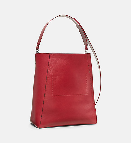 CALVINKLEIN Large Luxe Leather Bucket Bag - DARK RED - CALVIN KLEIN SHOES & ACCESSORIES - detail image 1