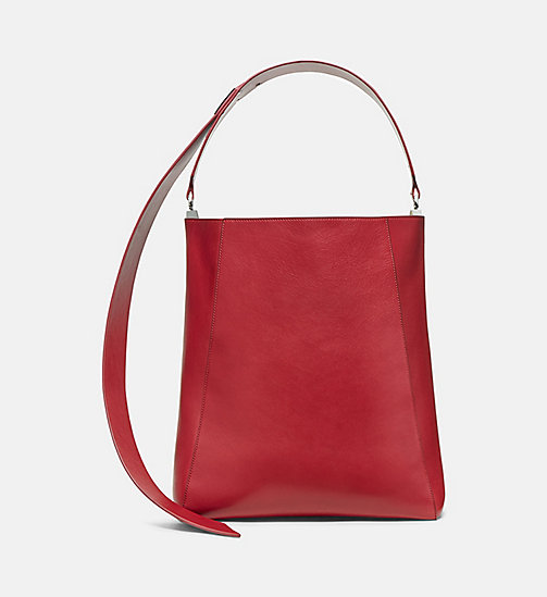CALVINKLEIN Large Luxe Leather Bucket Bag - DARK RED - CALVIN KLEIN SHOES & ACCESSORIES - main image