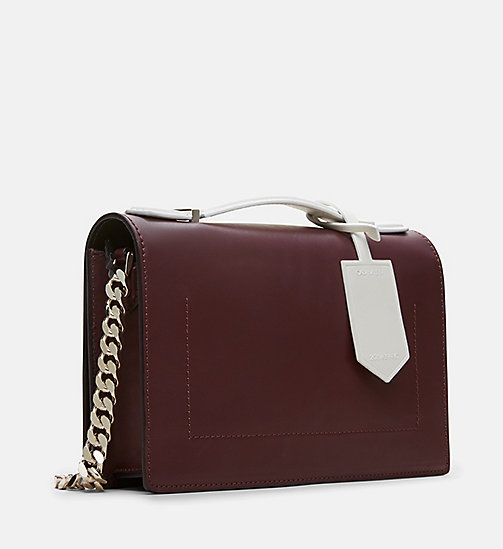 CALVINKLEIN Leather Chain Shoulder Bag - BORDEAUX - CALVIN KLEIN SHOES & ACCESSORIES - detail image 1