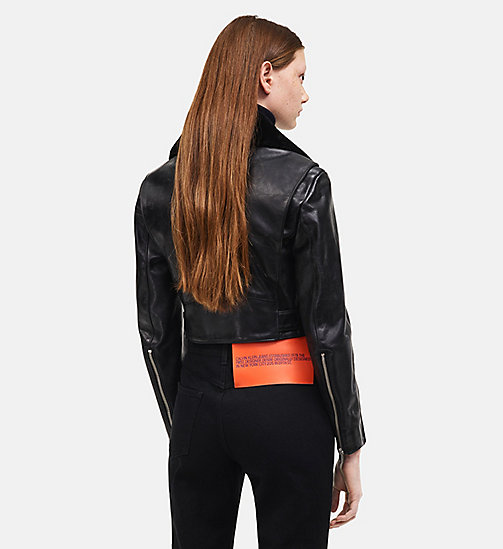 CALVINKLEIN Leather Biker Jacket - BLACK - CALVIN KLEIN WOMEN - detail image 1