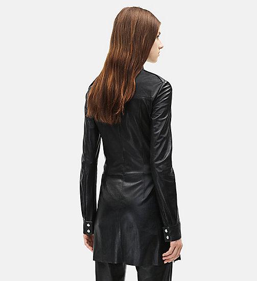 CALVINKLEIN Leather Uniform Shirt - BLACK - CALVIN KLEIN WOMEN - detail image 1