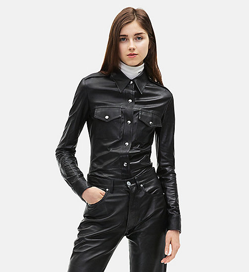CALVINKLEIN Leather Uniform Shirt - BLACK - CALVIN KLEIN WOMEN - main image