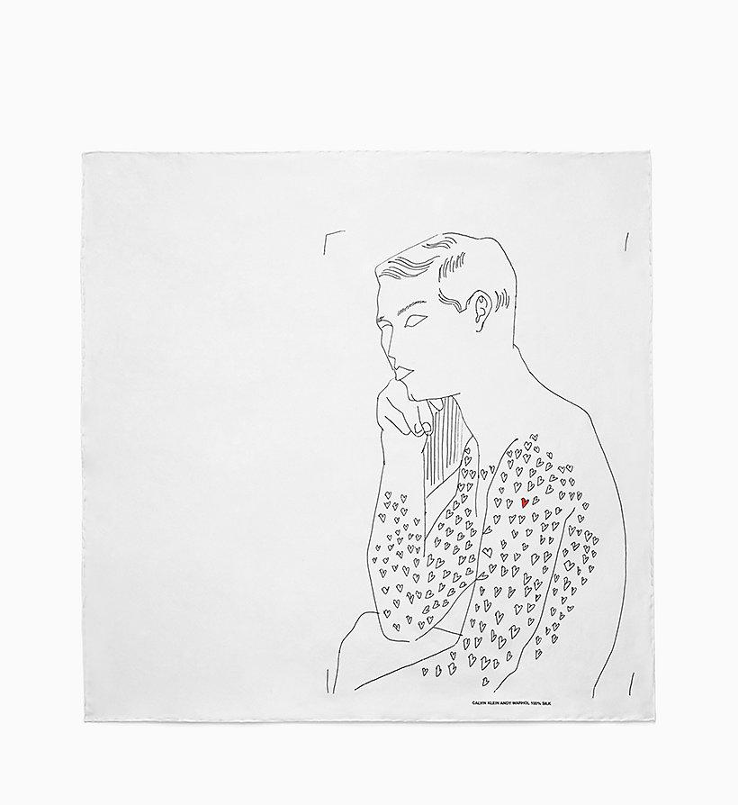Calvin Klein - Pañuelo de sarga de seda Body of Heart - 1