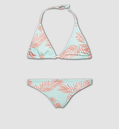 CALVIN KLEIN SWIMWEAR Girls Triangle Bikini Set - ID Print G80G800001305