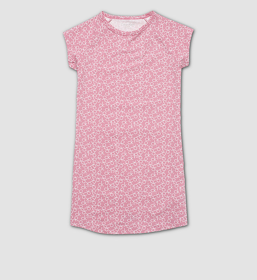CALVINKLEIN Girls Nightdress - Modern Cotton - CK REPLAY LOGO BUBBLEGUM PINK - CALVIN KLEIN UNDERWEAR - main image
