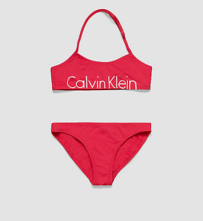 CALVIN KLEIN SWIMWEAR Girls Bandeau Bikini Set - Placed Logo G80G800007501
