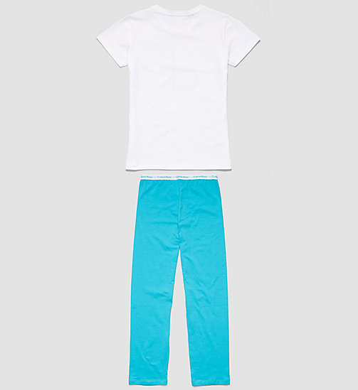 CALVINKLEIN Girls PJ Set - Modern Cotton - WHITE W/ BLUEBIRD - CALVIN KLEIN PYJAMAS - detail image 1
