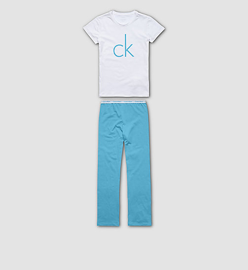 CALVINKLEIN Girls PJ Set - Modern Cotton - WHITE W/ BLUEBIRD - CALVIN KLEIN PYJAMAS - main image