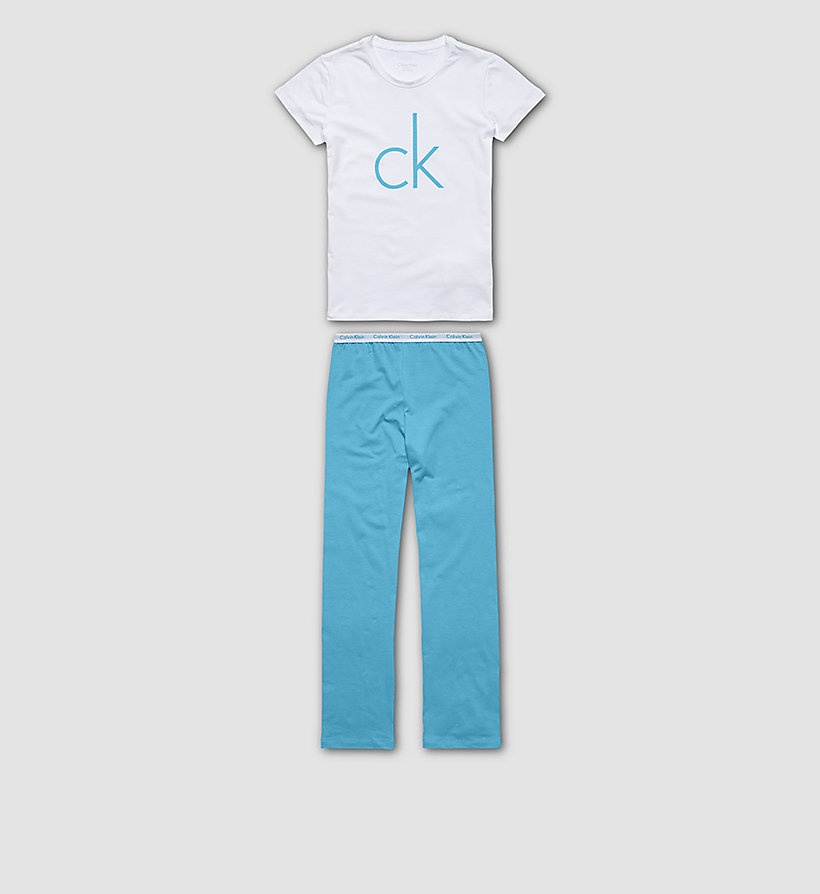 CALVINKLEIN Girls PJ Set - Modern Cotton - WHITE W/ BLUEBIRD - CALVIN KLEIN UNDERWEAR - main image