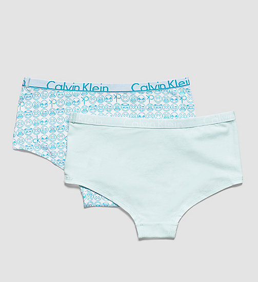 CALVINKLEIN 2 Pack Girls Hipsters - Modern Cotton - 1 CK EMOJI PRINT / 1 BLEACHED AQUA - CALVIN KLEIN Up to 50% - detail image 1