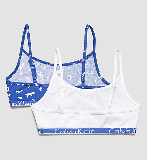 CALVINKLEIN 2 Pack Girls Bralettes - Modern Cotton - 1 CK SQUIBBLE DAZZLING BLUE / 1 WHITE - CALVIN KLEIN GIRLS - detail image 1