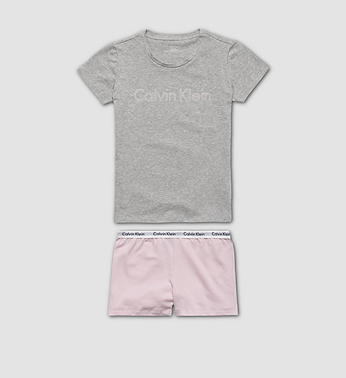 CALVINKLEIN Girls PJ Set - Modern Cotton - HEATHER GREY W/ UNIQUE - CALVIN KLEIN GIRLS - main image