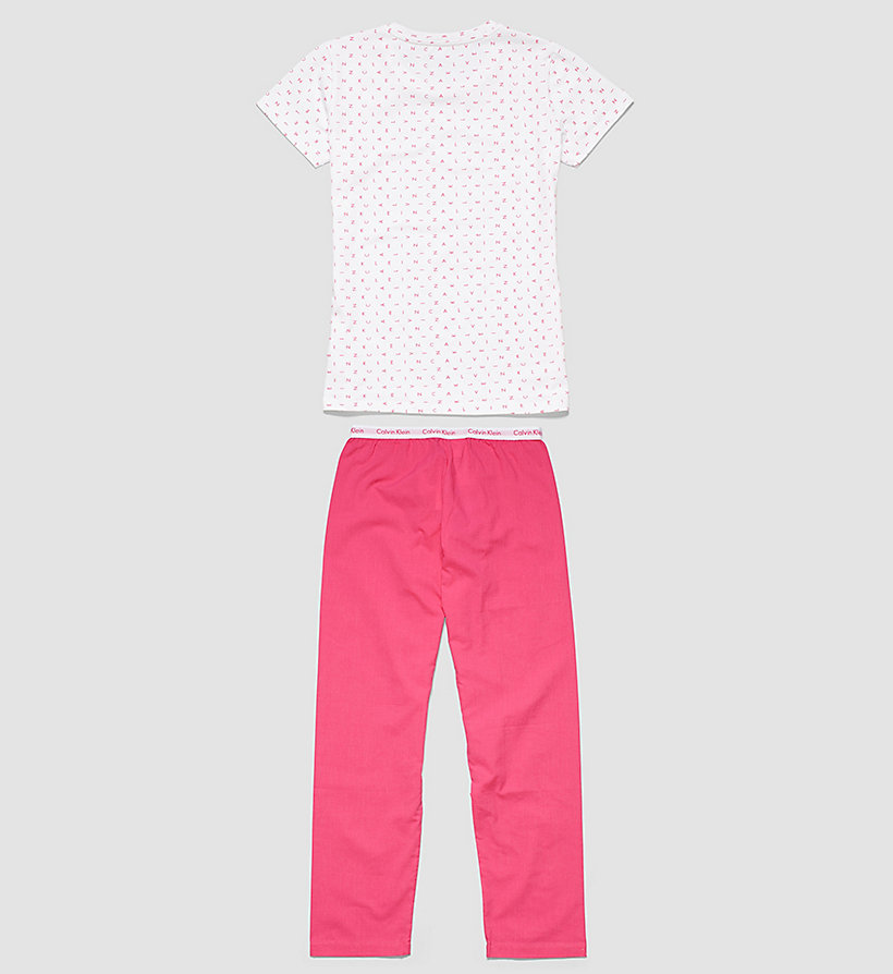 CALVINKLEIN Girls PJ Set - Modern Cotton - LG WHITE W/PURPLE - CALVIN KLEIN UNDERWEAR - detail image 1