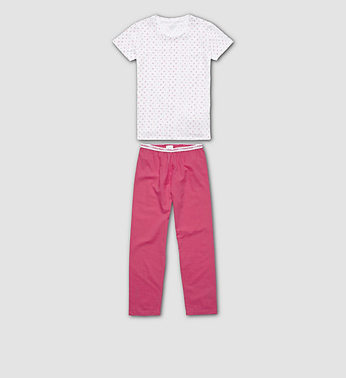 CALVINKLEIN Girls PJ Set - Modern Cotton - LG WHITE W/PURPLE - CALVIN KLEIN WOMEN - main image