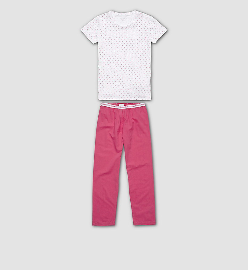CALVINKLEIN Girls PJ Set - Modern Cotton - LG WHITE W/PURPLE - CALVIN KLEIN UNDERWEAR - main image