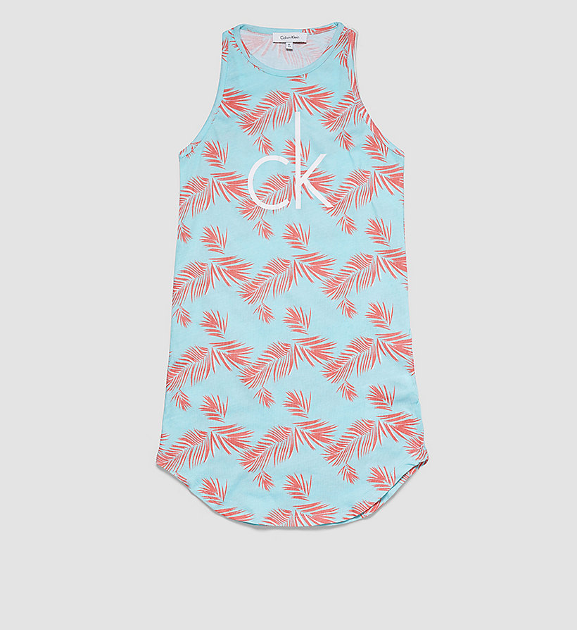 CALVINKLEIN Girls Beach Tank Dress - EXOTIC LEAF PR BEACH GLASS - CALVIN KLEIN DRESSES - main image