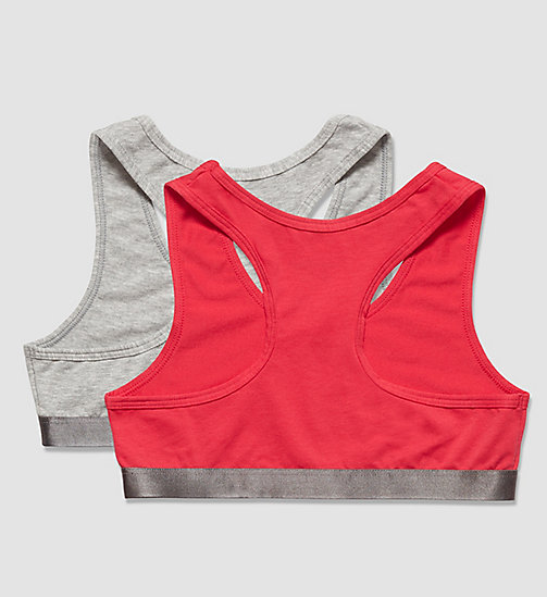 CALVINKLEIN 2 Pack Girls Bralettes - Customized Stretch - 1 GREY HEATHER/ 1 ROSE RED - CALVIN KLEIN UNDERWEAR - detail image 1