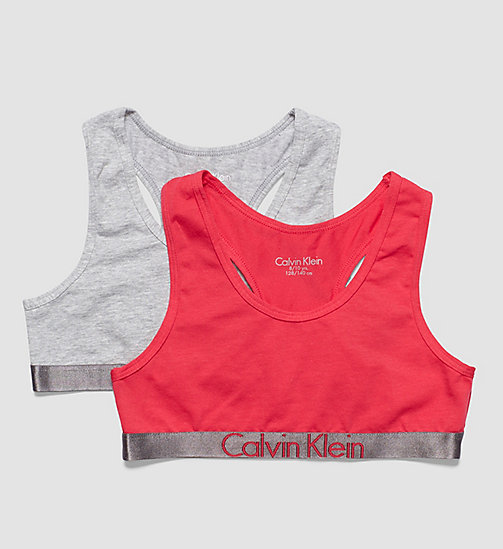 CALVINKLEIN 2 Pack Girls Bralettes - Customized Stretch - 1 GREY HEATHER/ 1 ROSE RED - CALVIN KLEIN UNDERWEAR - main image