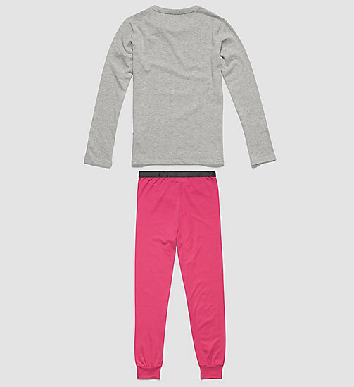 CALVINKLEIN Girls PJ Set - Customized Stretch - GREY HEATHER W/ LILAC ROSE - CALVIN KLEIN PYJAMAS - detail image 1