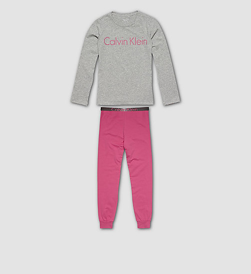 CALVINKLEIN Girls PJ Set - Customized Stretch - GREY HEATHER W/ LILAC ROSE - CALVIN KLEIN PYJAMAS - main image