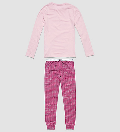 CALVINKLEIN Girls PJ Set - Modern Cotton - UNIQUE W/ REPEAT LOGO WILD ASTER - CALVIN KLEIN PYJAMAS - detail image 1