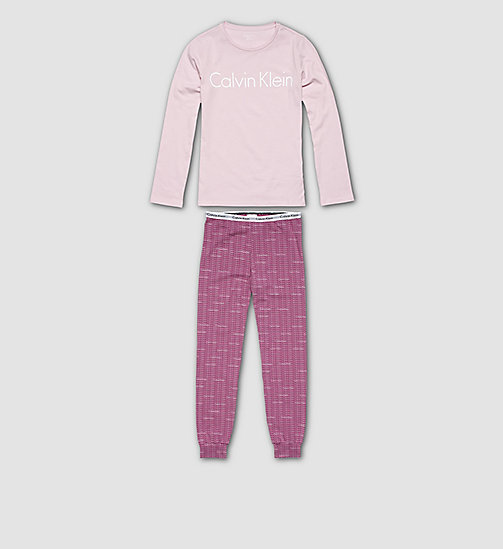 CALVINKLEIN Girls PJ Set - Modern Cotton - UNIQUE W/ REPEAT LOGO WILD ASTER - CALVIN KLEIN PYJAMAS - main image