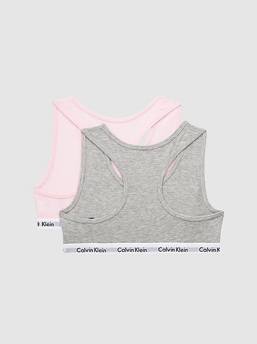 CALVINKLEIN 2 Pack Girls Bralette - Modern Cotton - GREY HTR/UNIQUE - CALVIN KLEIN UNDERWEAR - detail image 1