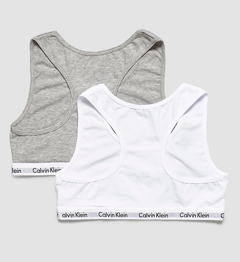 CALVINKLEIN 2 Pack Girls Bralettes - Modern Cotton - 1 GREY HEATHER/ 1 WHITE - CALVIN KLEIN UNDERWEAR - detail image 1