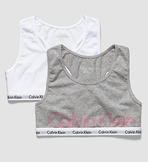 CALVINKLEIN 2 Pack Girls Bralettes - Modern Cotton - 1 GREY HEATHER/ 1 WHITE - CALVIN KLEIN Up to 50% - main image