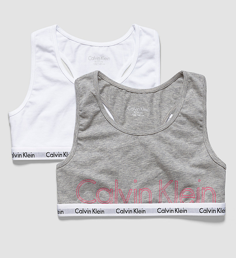 CALVINKLEIN 2 Pack Girls Bralettes - Modern Cotton - 1 GREY HEATHER/ 1 WHITE - CALVIN KLEIN UNDERWEAR - main image