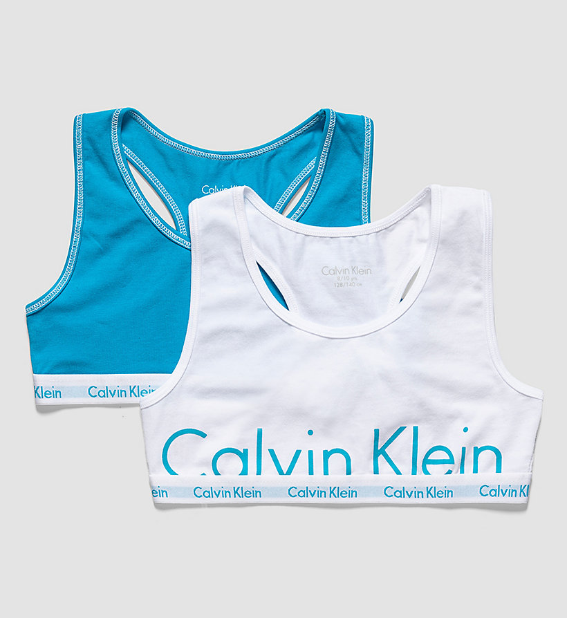 CALVINKLEIN 2 Pack Girls Bralettes - Modern Cotton - 1 WHITE PLACED CLASSIC LOGO / 1 BLUE BIR - CALVIN KLEIN UNDERWEAR - main image