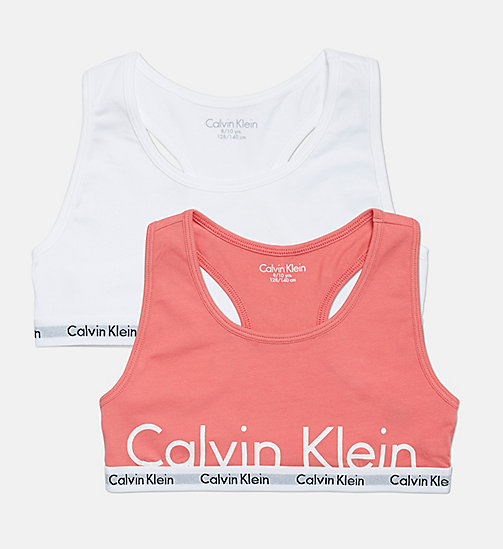 CALVINKLEIN 2 Pack Girls Bralettes - Modern Cotton - 1 BUBBLE GUM PINK PLACED CLASSIC LOGO / - CALVIN KLEIN GIRLS - main image