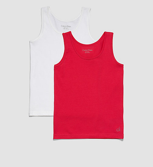 CALVINKLEIN 2 Pack Girls Tank Tops - Modern Cotton - 1 AZALEA / 1 WHITE - CALVIN KLEIN WOMEN - main image