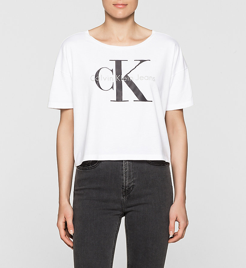 CKJEANS Cropped Logo T-shirt - BRIGHT WHITE - CK JEANS T-SHIRTS - main image